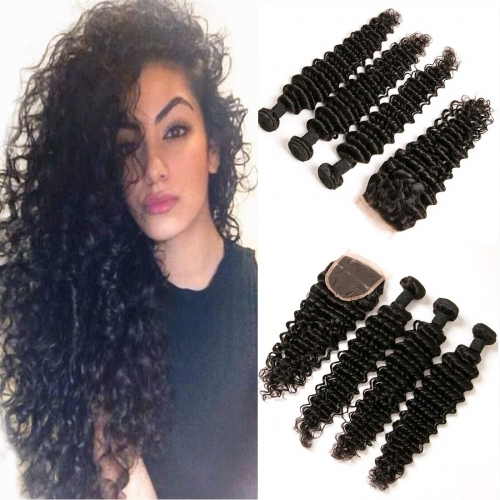 Cheap 4 Bundles Deep Wave Brazilian Human Hair Bundles Virgin Hair Extensions Double Weft Silky Curls Weave Raw Remy Human Hair Wholesale Lots Afforda