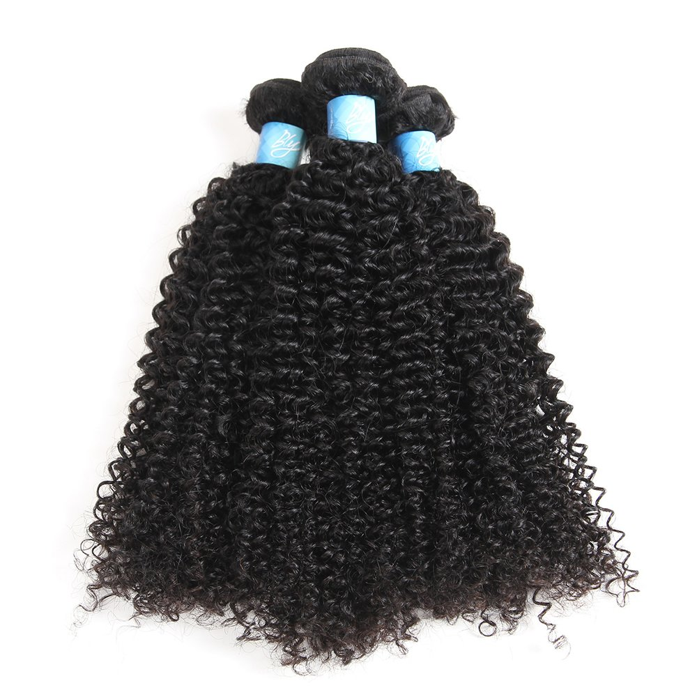 7A Mongolian Virgin Kinky Curly Human Hair Bundles Extensions 1/3/4 Bundles Unprocessed Curly Weave Natural Black Hair
