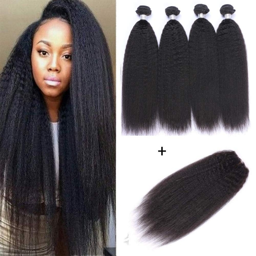 Brazilian Kinky Straight Hair 4 Bundles Yaki Human Hair Bundles 100% Virgin Kinky Straight Human Hair Extensions Natural Black(20 20 20 20)