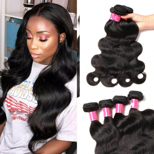 Brazilian Body Wave 4 Bundles 20 22 24 26inch 8A Unprocessed Virgin Brazilian Body Wave Human Hair Natural Black Brazilian Virgin Body Wave Weft