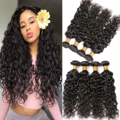 4 Bundles Of  Water Wave Brazilian Hair Bundles Silky Curls Human Hair Ocean Wave 12a Grade 16 18 20 22 Inches Natural Color Can be Dyed and Bleached
