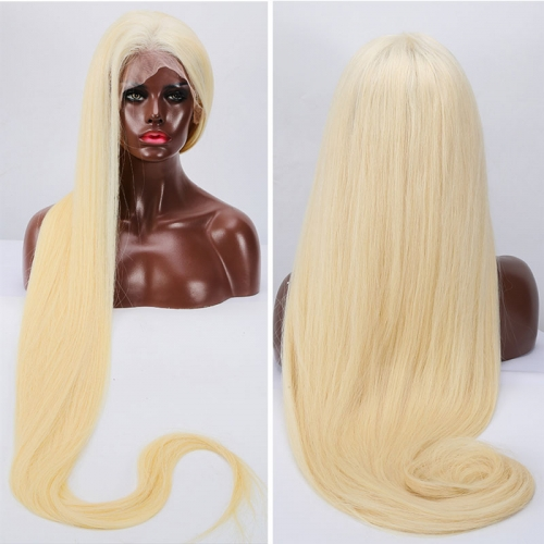 613 Blonde Virgin Human Hair Full Lace Wigs 150% density Bleached Knots with Baby Hair Around Pre Plucked Hair