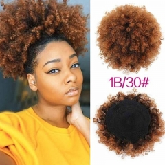 1bt30# Afro Kinky Curly Ponytail Remy Hair Clip In Ponytails Virgin Human Hair Products