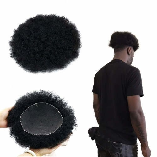 Natural Human Hair Afro Tight Curly Men's Toupee #1 Jet Black All Lace Replacement Hairpiece 130% Medium Density 10x8inch