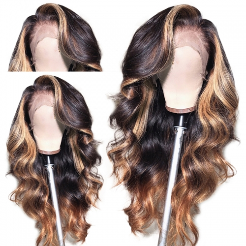 Lace Front Human Hair Wigs Brazilian Ombre Color 180 Density With Blonde Hightlights Loose Wave Remy Hair For Black Women