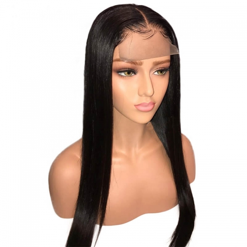 Silky Straight Full Lace Human Hair Wigs Pre Plucked With Baby Hair For Women 130 Density Brazilian Remy Hair Natural Hairline
