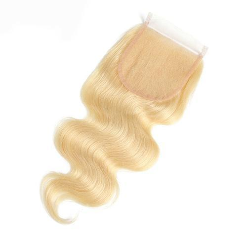 Wholesale #613 Body Wave Lace Closure Human Hair Blonde Closure