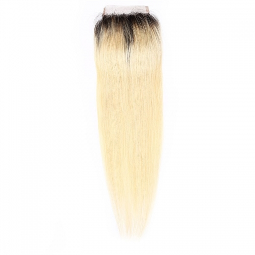 Wholesale #1b 613 Straight Lace Closure Human Hair Blonde Closure