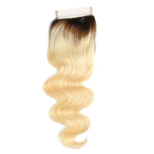 Wholesale #1b 613 Body Wave Lace Closure Human Hair Blonde Closure