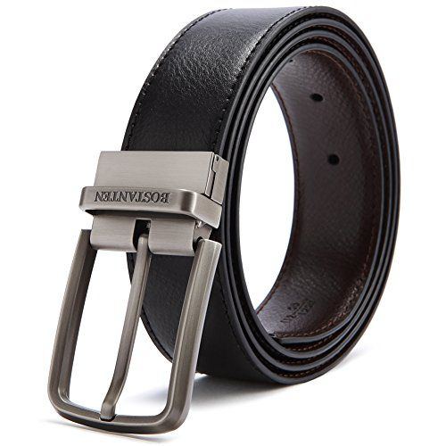 "BOSTANTEN Reversible Dress Leather Belts for Men 1 3/8"" Wide with Gift Box"