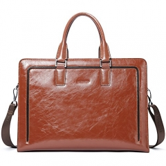 "BOSTANTEN Women Genuine Leather Briefcase Tote Business Vintage Handbag 15.6"" Laptop Shoulder Bag"