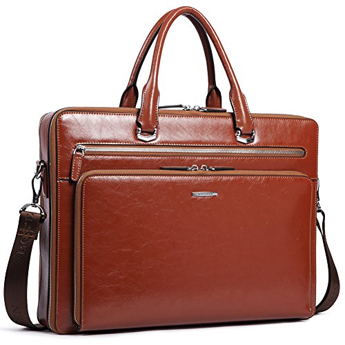 "BOSTANTEN Leather Briefcase Shoulder 15.6""Laptop Business Vintage Slim Messenger Bags for Men & Women"
