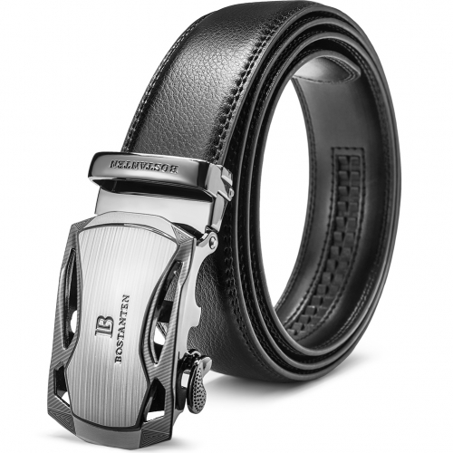 Big Sale New BOSTANTEN Men's Leather Ratchet Dress Belt with Automatic Sliding Buckle