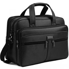 BOSTANTEN 17 inch Laptop Bag Case, Expandable Briefcases for men,  Water Resisatant Business Messenger Shoulder Bag for Computer