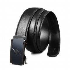 Flash Men Belts for Jeans Designer Black Leather with Ratchet Removable Buckle