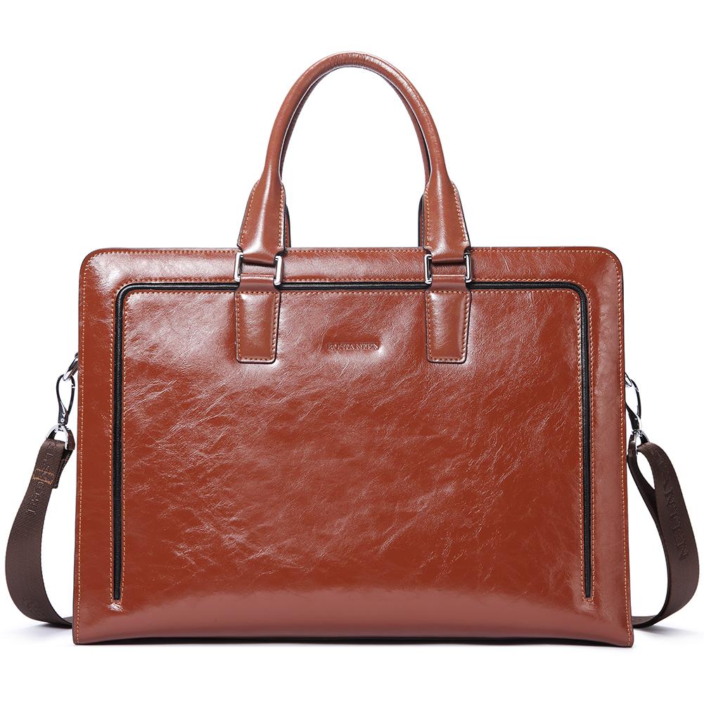 Retro Man Bag Genuine Leather Business Briefcase Laptop Handbag Totes Attache