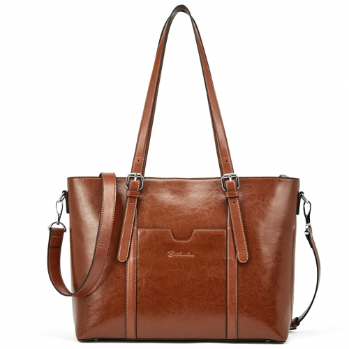 "BOSTANTEN Women Leather Laptop Shoulder Handbag Vintage Briefcase 15.6"" Computer Work Tote Bag Black"
