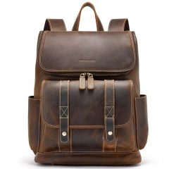 BOSTANTEN Leather Backpack 15.6 inch Laptop Backpack Vintage Travel Office Bag Large Capacity School Shoulder Bag