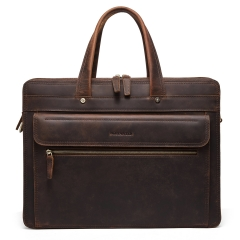 "BOSTANTEN Genuine Leather Briefcase Vintage Men's 15.6"" Laptop Bag Large Shoulder Bag"