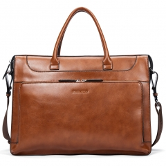 BOSTANTEN Leather Briefcase Vintage Business Message Bags 15.6 inch Laptop Shoulder Handbag for Women & Men Brown