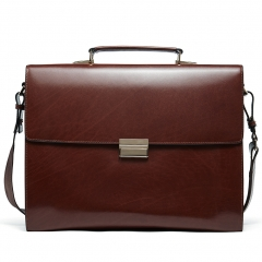 BOSTANTEN Genuine Men Leather Briefcase Vintage Lock 15.6 inch Laptop Lawyer Attache Case Messenger Bag