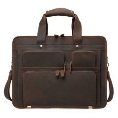 "BOSTANTEN Leather Briefcase for Men Shoulder 15.6"" Laptop Travel Business Vintage Duffle Messenger Bags"