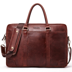 BOSTANTEN Leather Briefcase Vintage Messenger Business Bags 15.6 inch Laptop Handbag for Men Brown