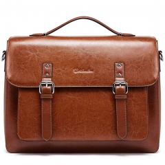 "BOSTANTEN Leather Briefcase 14"" Vintage Laptop Messenger Satchel Office Business Bag for Women"