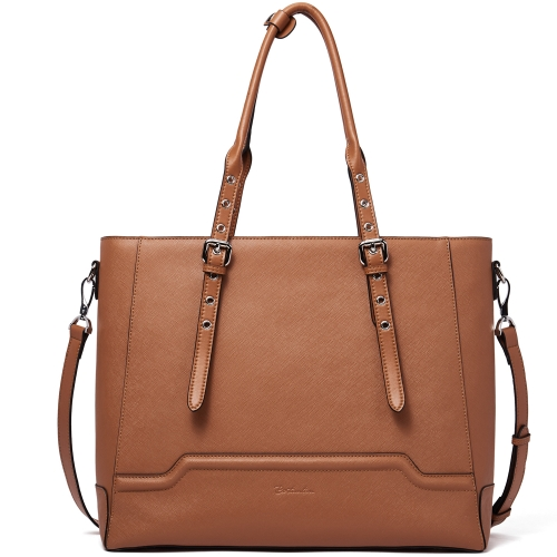 BOSTANTEN Women Briefcase Leather Laptop Shoulder Handbag Fit Up to 15.6 inch Tote Work Purses Cross-Body Bag