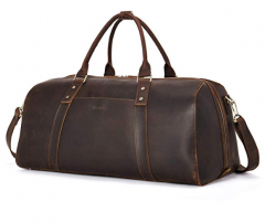 BOSTANTEN Vintage Leather Travel Duffel Bag for Men Shoulder Weekender Overnight Sport Gym Carry on Bags