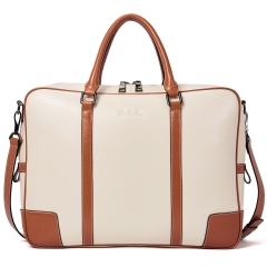 BOSTANTEN Leather Briefcase Messenger Satchel Bags Laptop Handbags for Women Apricot