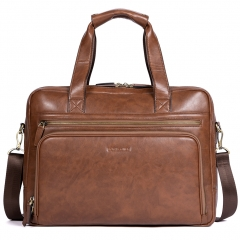 BOSTANTEN Leather Briefcase Business Travel Laptop Bags 15.6 inch for Men & Women Brown
