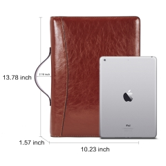 BOSTANTEN Genuine Leather Padfolio Vintage Business Portfolio Personalized Leather Folder with Sleeves for Documents and Notepad Brown