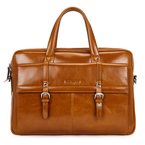 BOSTANTEN Leather Briefcase Vintage 15.6 inch Laptop Shoulder Bag Lawyer Attache Messenger Business Bag Brown