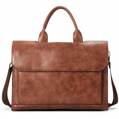 "BOSTANTEN Leather Briefcase Messenger Satchel Bag 15.6"" Laptop Office Handbags for Women & Men Brown"