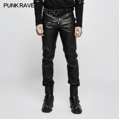 Autumn Men Slim Hunting Leather Trousers | Punk Rave
