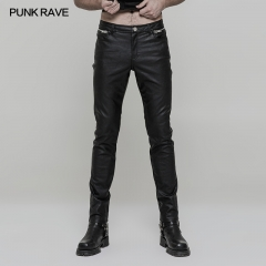 Black Gothic Punk Men Heavy Metal PU Trousers | Punk Rave