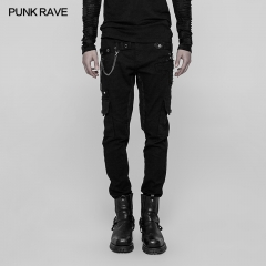 Gothic Male Heavy Punk Metal Trousers