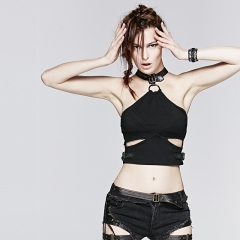 Punk short bellybutton vest with leather collar
