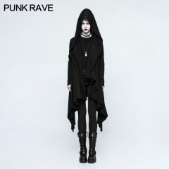 Gothic Black Knitted Hooded Jacket