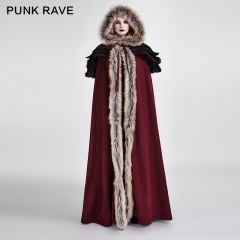 Gothic Wool Collar Long Cloak
