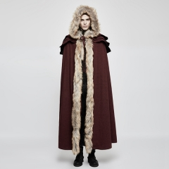Gothic Wool Collar Long Cloak for Men