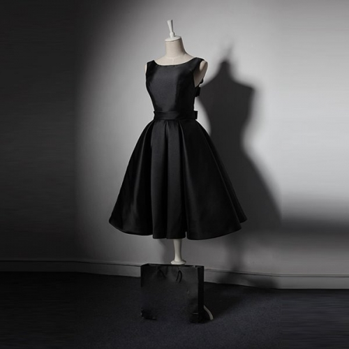 Gothic  black sexy evening short prom sleeveless dress with bow belt