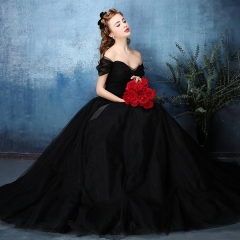 Gothic victorian black lace prom luxury elegant evening dress