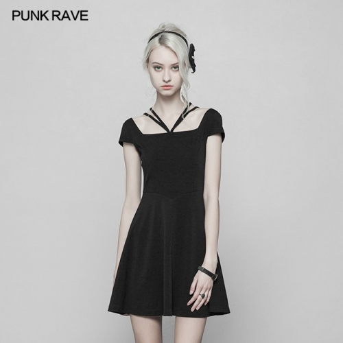 Black Gothic Lace Stitching Cover Sleeve Dress