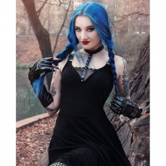 Punk gothic daily dress with sexy cross across neck design