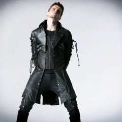 Vampire Punk Studded Heavy PU Leather Motorcycle Jacket for Men