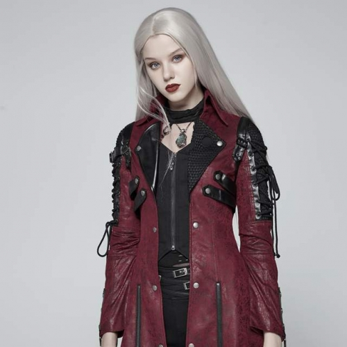 Red Vampire Punk Studded Heavy PU Leather Motorcycle Jacket