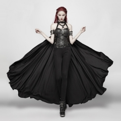 Black Gothic Punk Cape With Chain | Punk Rave