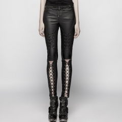 Black Punk Pressure Adhesive Faux Leather Woven Trousers | Punk Rave